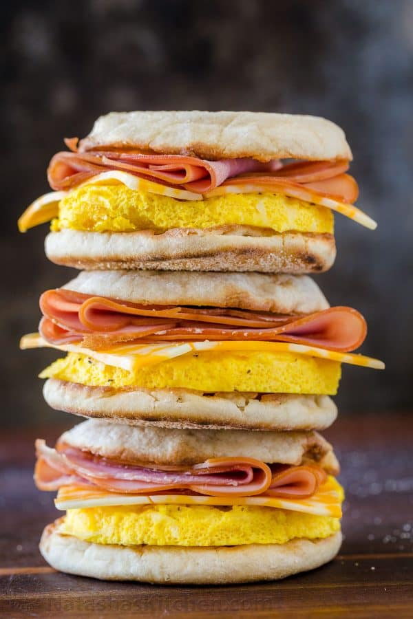 Stack of freezer friendly breakfast sandwiches
