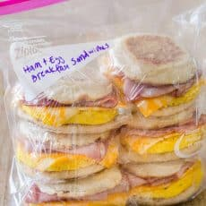 Packaged freezer friendly make ahead breakfast sandwiches
