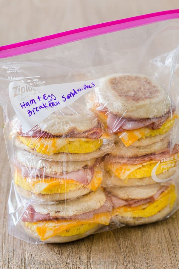 Ham and Egg Breakfast Sandwiches tacked and packaged ready for the freezer