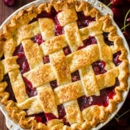 Classic cherry pie with lattice crust