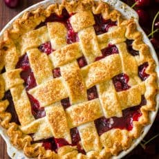 Classic cherry pie with lattice crust