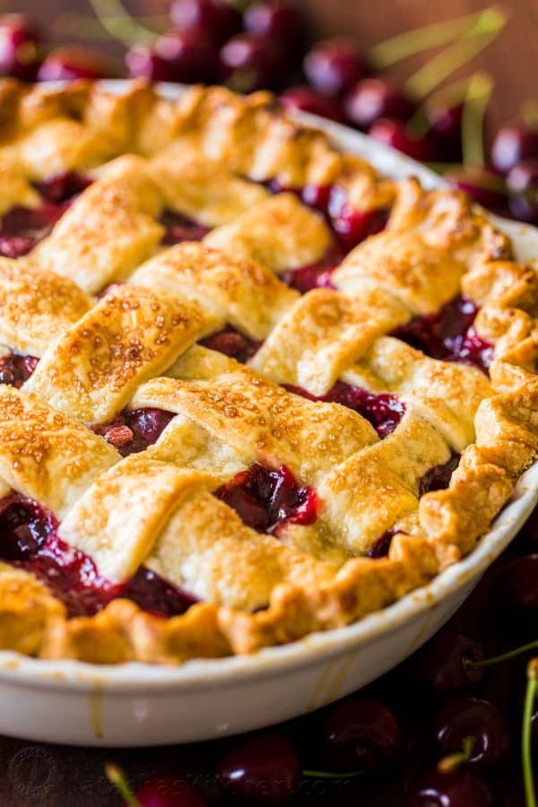 Baked Homemade Cherry Pie with Lattice crust