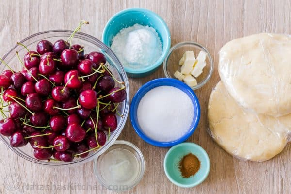 Ingredients for sweet cherry pie, sour cherry pie or frozen cherry pie