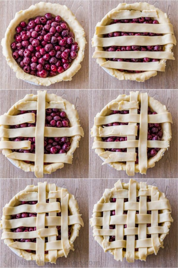 Step by step photos of how to make a lattice pie crust