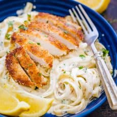Lemon Chicken Pasta in a bowl garnished with parsley