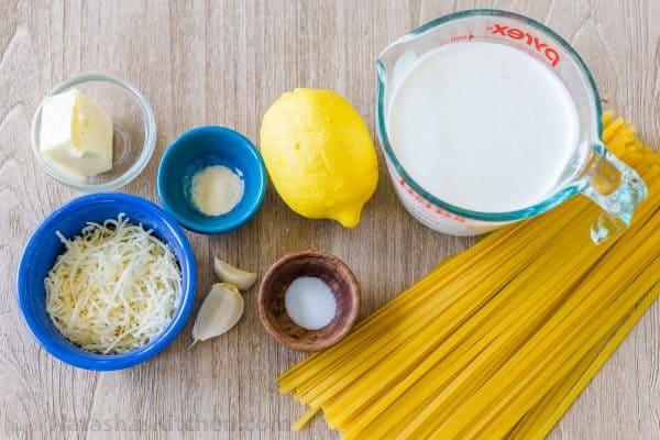 Ingredients for lemon cream sauce alfredo