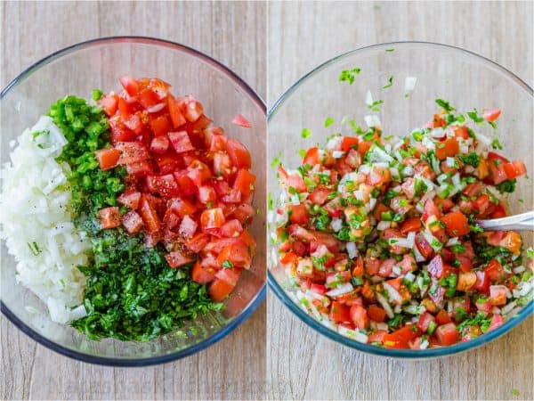 How to make pico de gallo with tomatoes, onions, cilantro and jalapeno