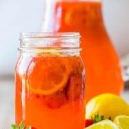 Strawberry Lemonade Recipe served in jar