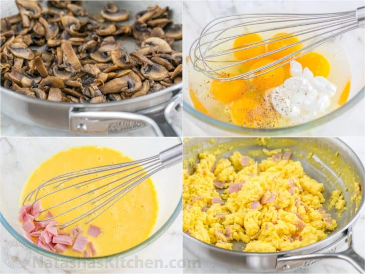 How to make breakfast burrito filling with mushrooms, egg and ham