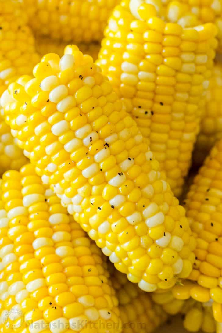 Up close Corn on the cob cooked in instant pot