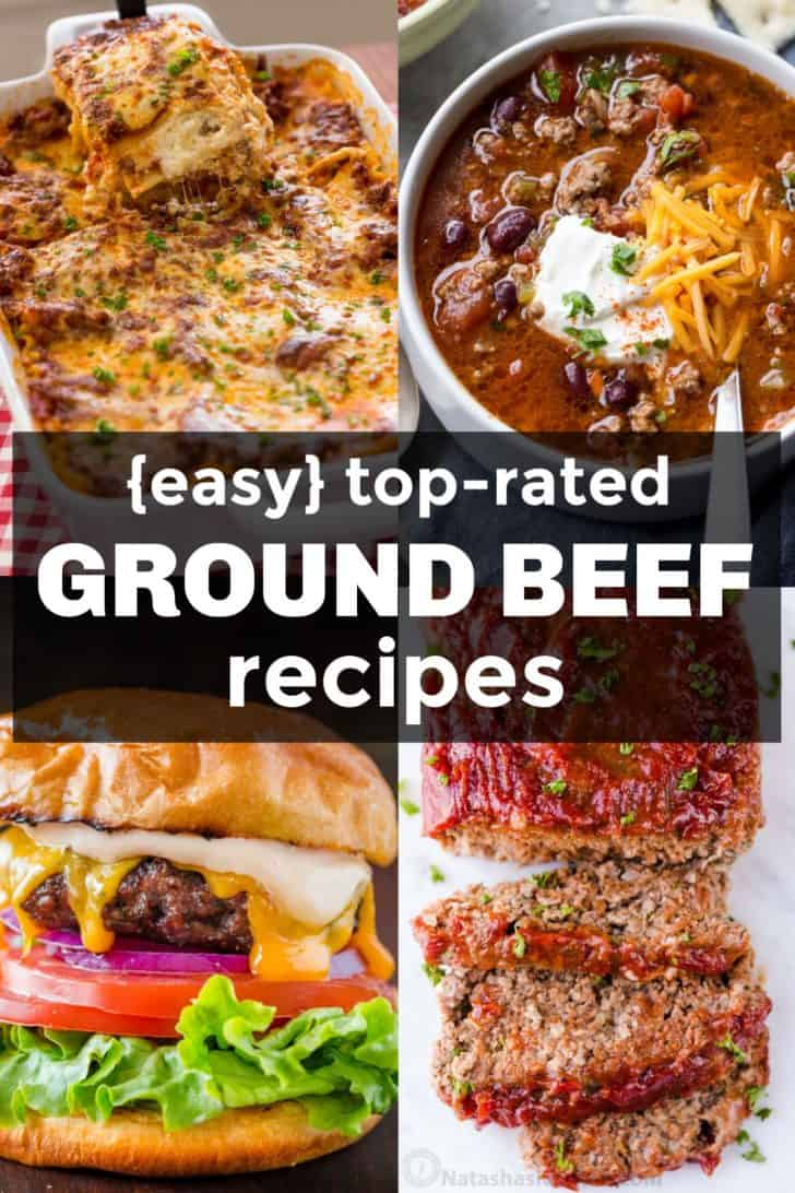 Ground beef recipes with lasagna, beef chili, beef burgers and beef meatloaf