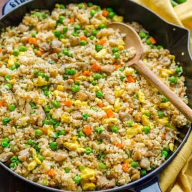 Chicken fried rice in skillet