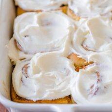 Cinnamon Rolls in Casserole with cinnamon roll icing