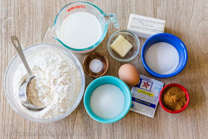 Ingredients to make cinnamon rolls with quick rice yeast