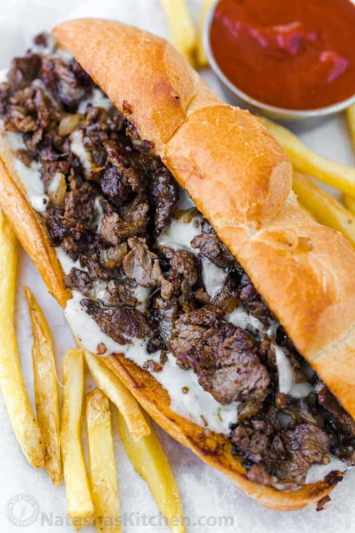How to serve philly cheesesteak sandwiches on a hoagie roll