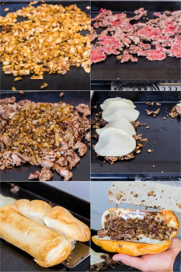 Step by step instructions how to make Philly cheesesteak sandwiches