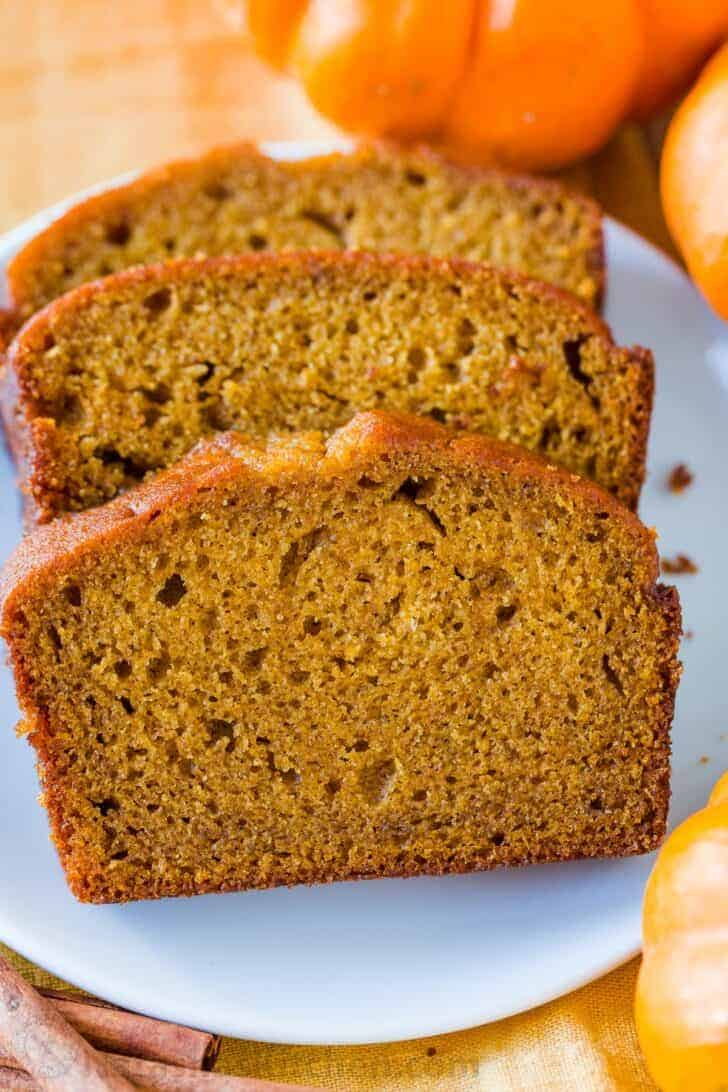 Classic sliced moist pumpkin bread on a plate