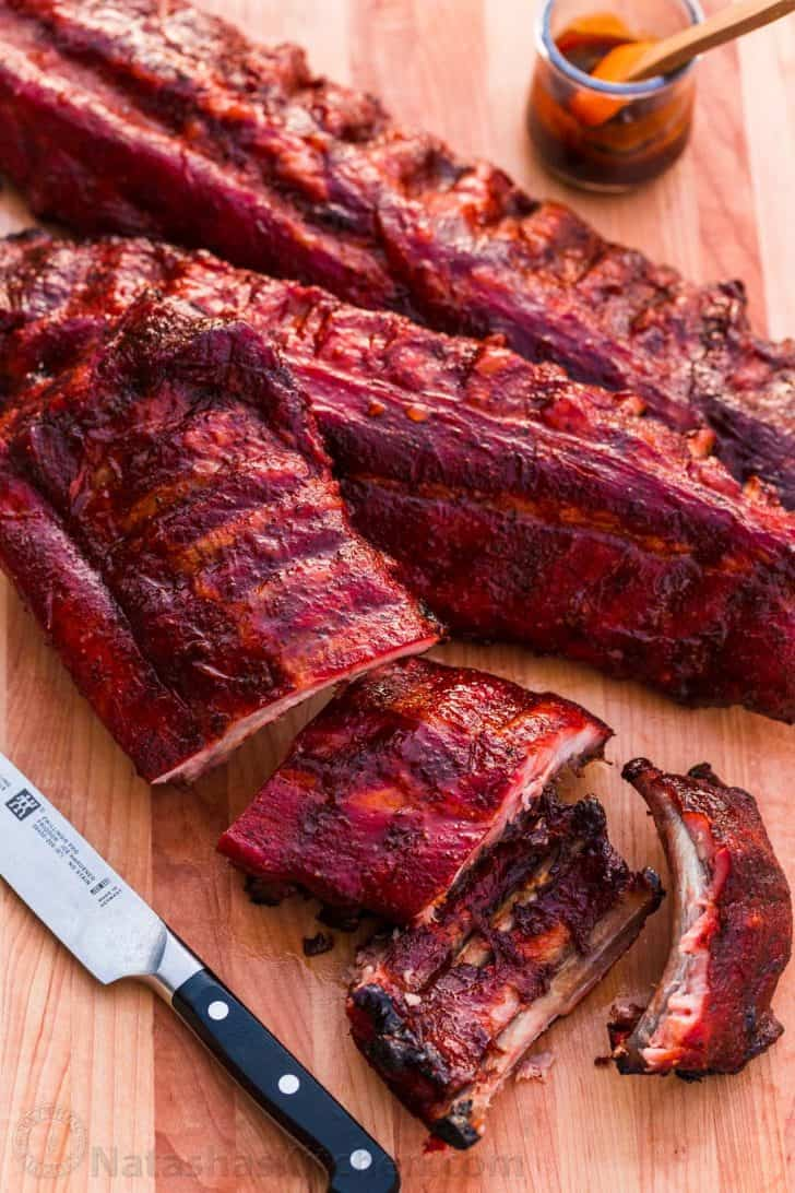 Smoked Ribs on a cutting board with the best glaze