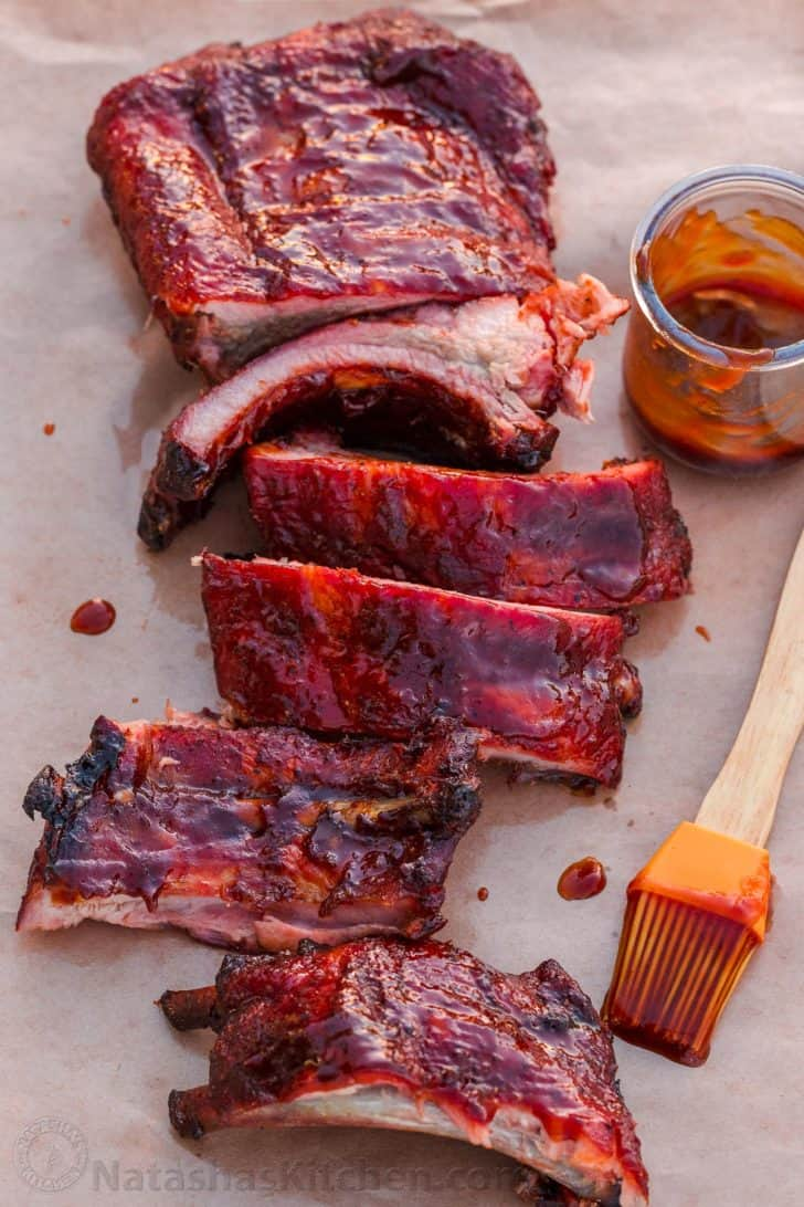 Smoked Ribs recipe cooked and sliced with bbq glaze