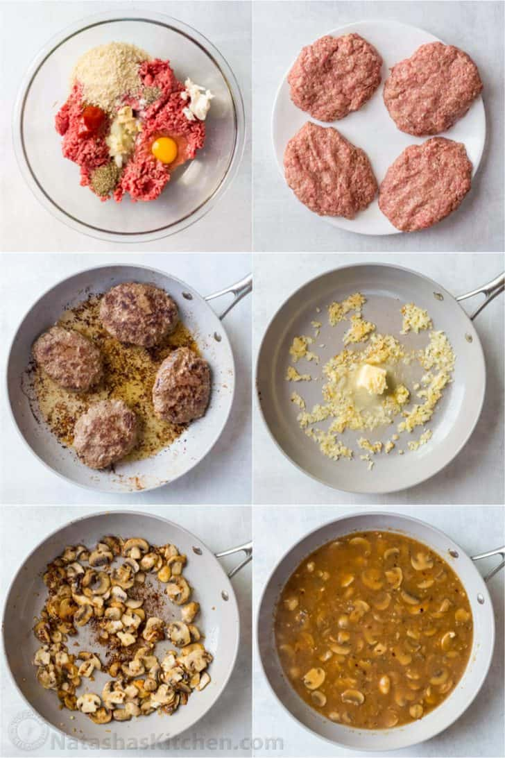Step-by-step collage tuturial how to make beef patties and gravy