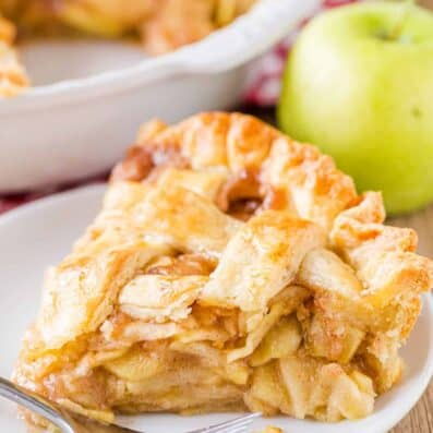 Apple pie slice on a plate