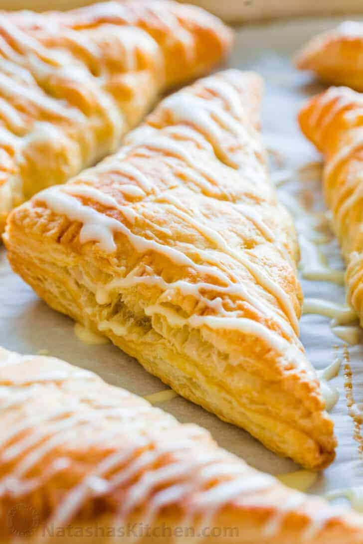 Baked from frozen apple turnovers with glaze