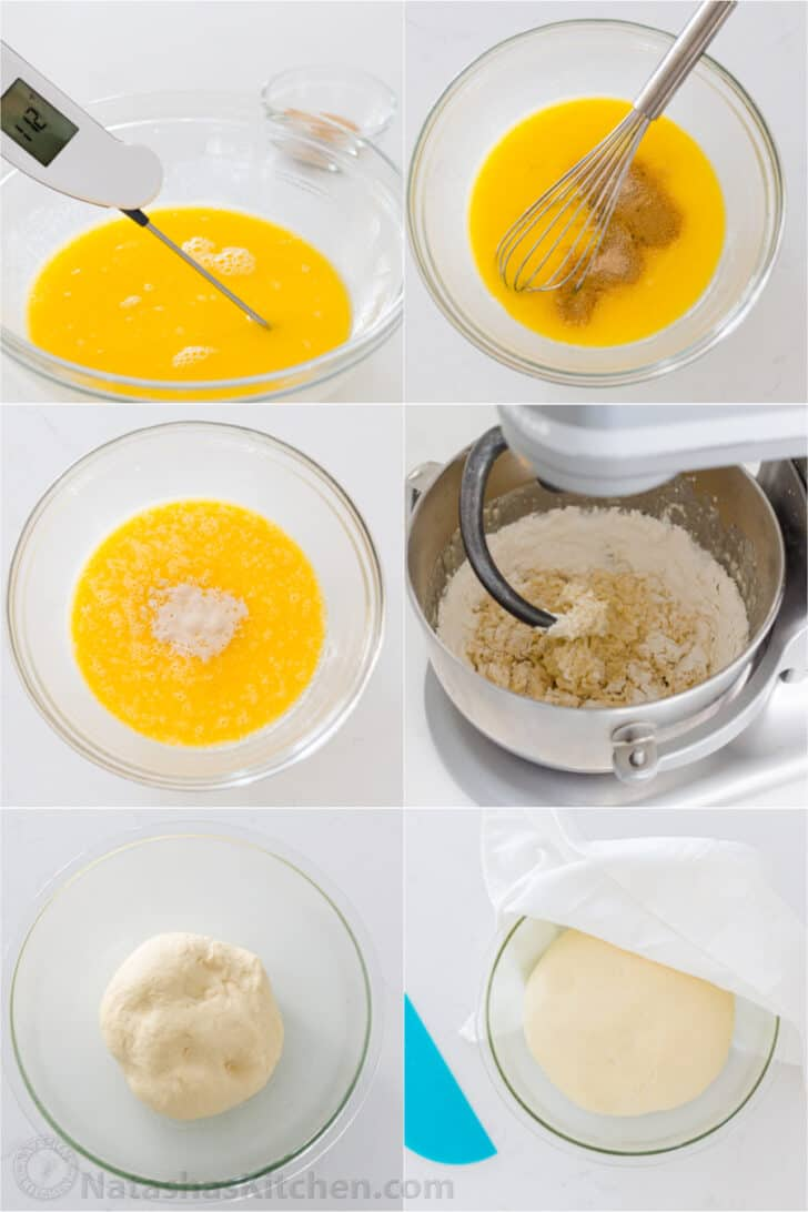 Step by step photos on making the yeast dough for dinner rolls