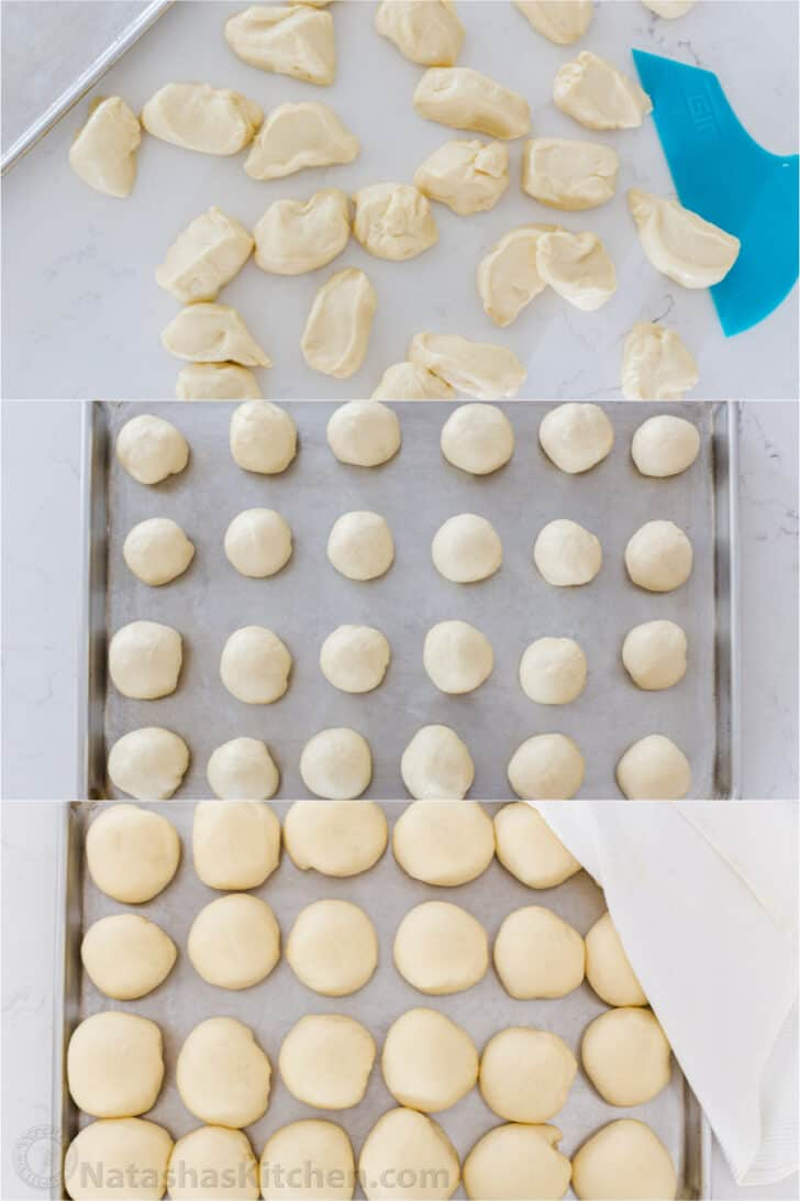 Shaping of dinner rolls and them rising on a baking sheet.