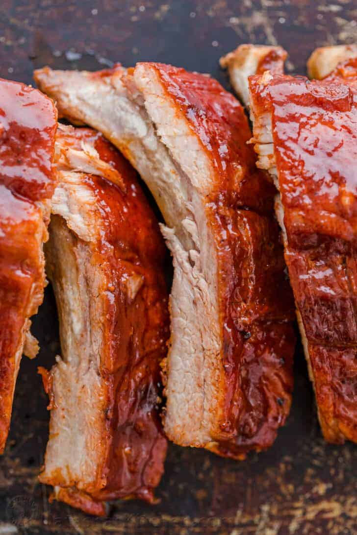 Instant pot bbq Ribs sliced and arranged on a tray