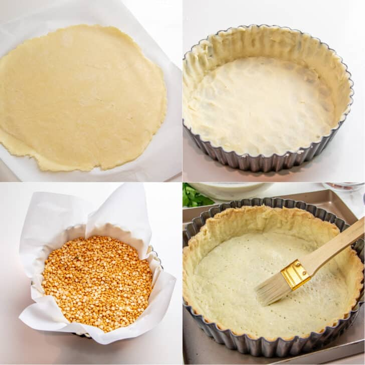 Step by step pictures to pre-baking the quiche tart base.