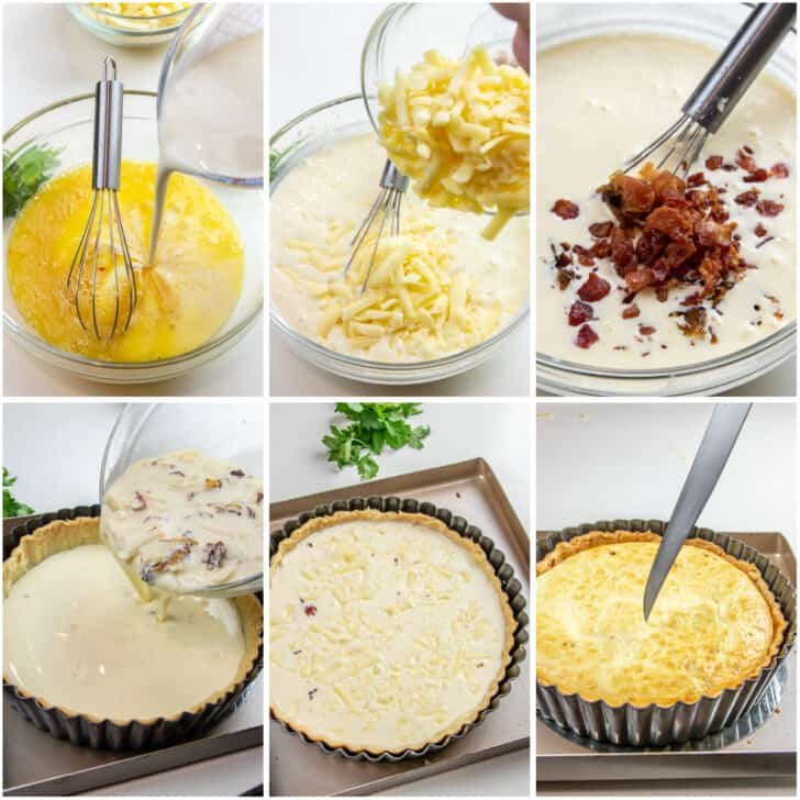 Step by step photos to making the quiche filling.