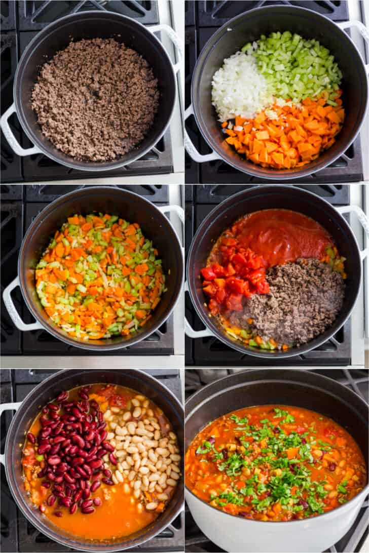 Step by step tutorial how to make pasta e fagioli by browning meat, adding vegetables, followed by tomatoes then seasoning.