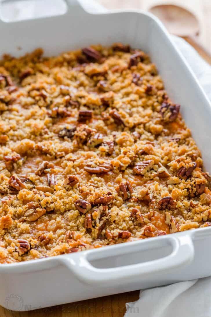 Sweet Potato Casserole in baking casserole dish