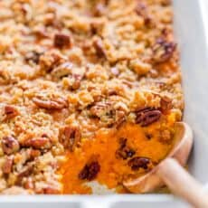 Sweet potato casserole recipe with serving spoon