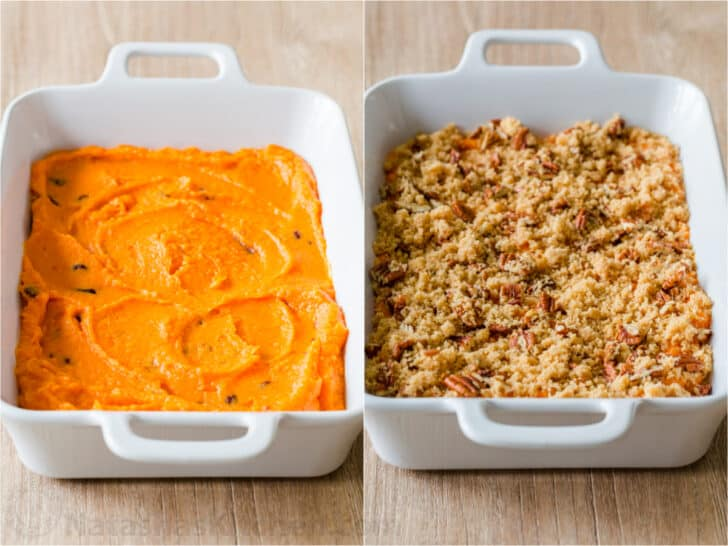 Sweet potatoes before and after topping
