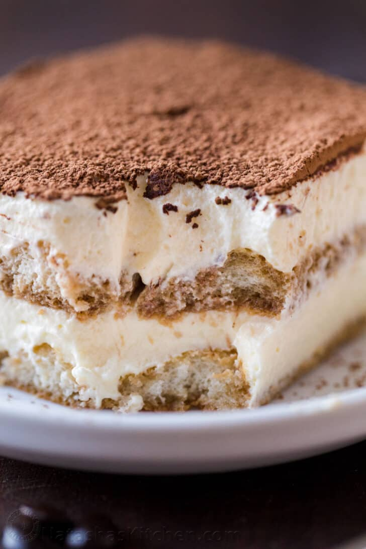Best tiramisu on a plate showing layers inside