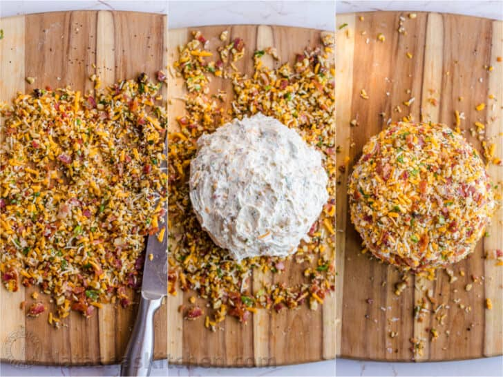 Three photos side by side, on how to make a Cheese Ball.