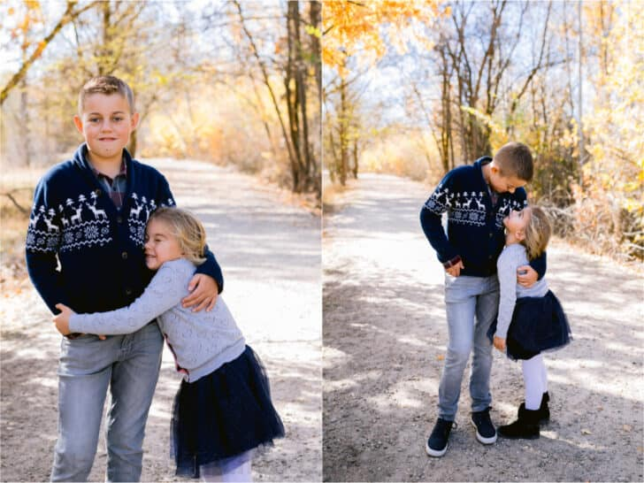 Two photos, side by side, of two children.