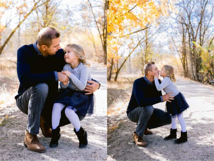 Two photos side by side, of a father and daughter.
