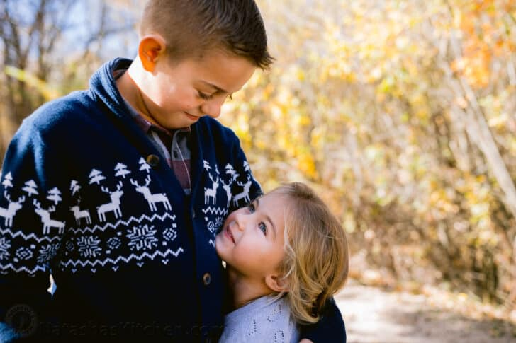 A close up photo of two children.