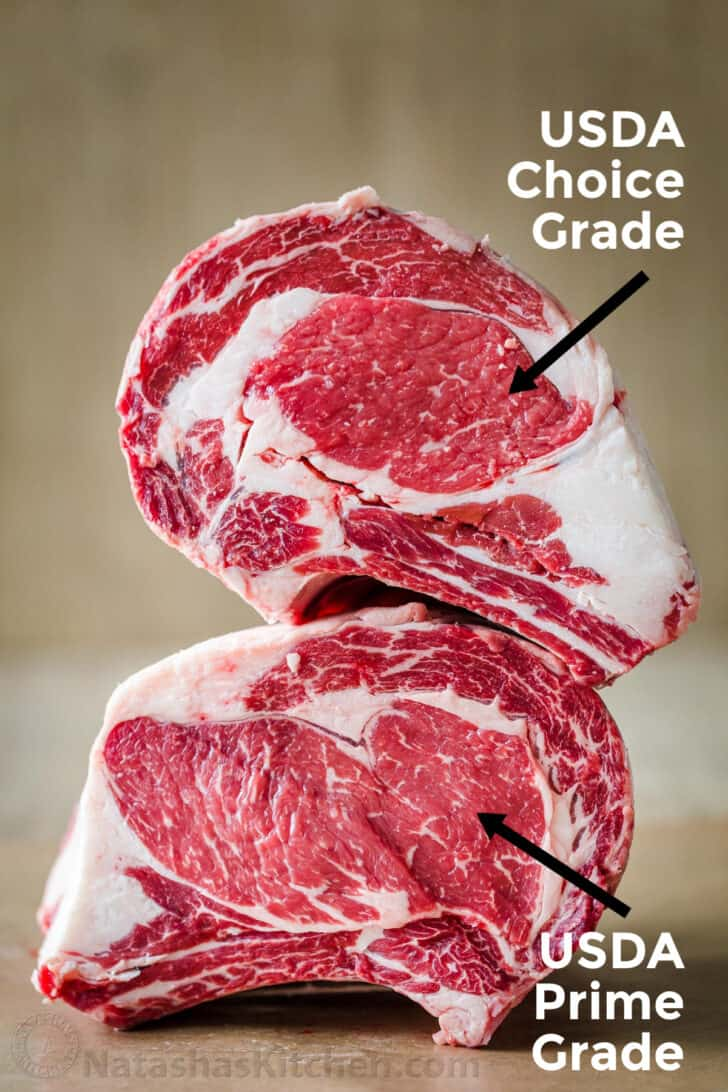 Showing the difference between choice grade prime rib and usda prime grade prime rib