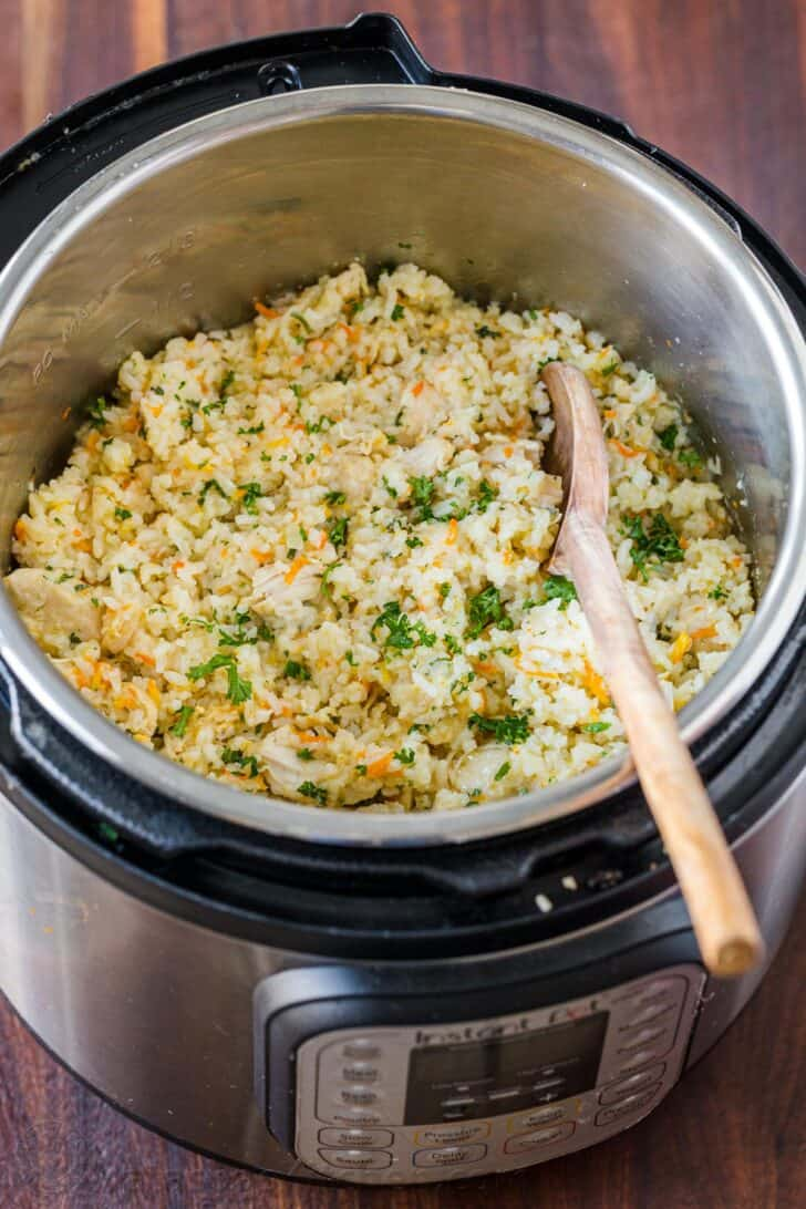 Instant Pot Chicken and Rice with Spoon