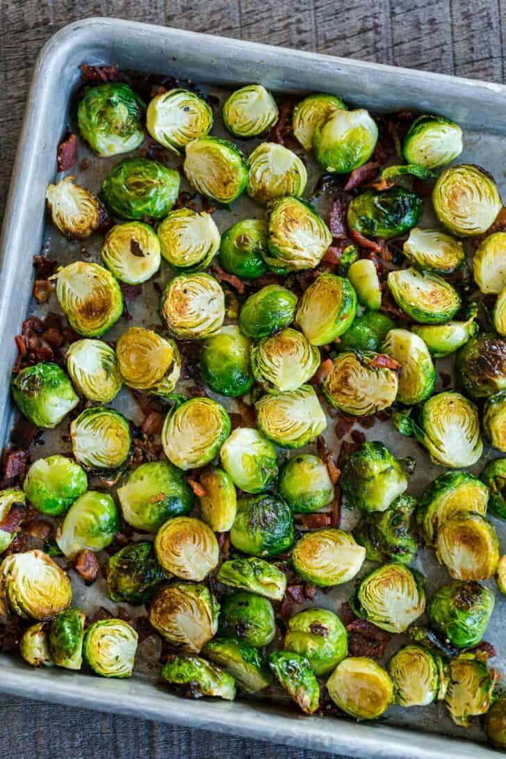 Reheating Brussels sprouts in the oven or air fryer on baking sheet