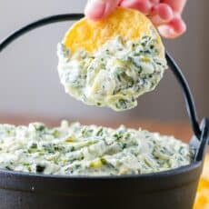 Spinach artichoke dip served with tortilla chips