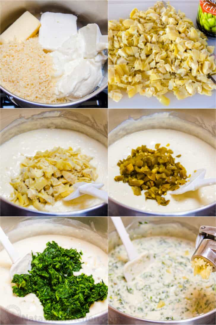 Step by step instructions how to make spinach artichoke dip on stovetop