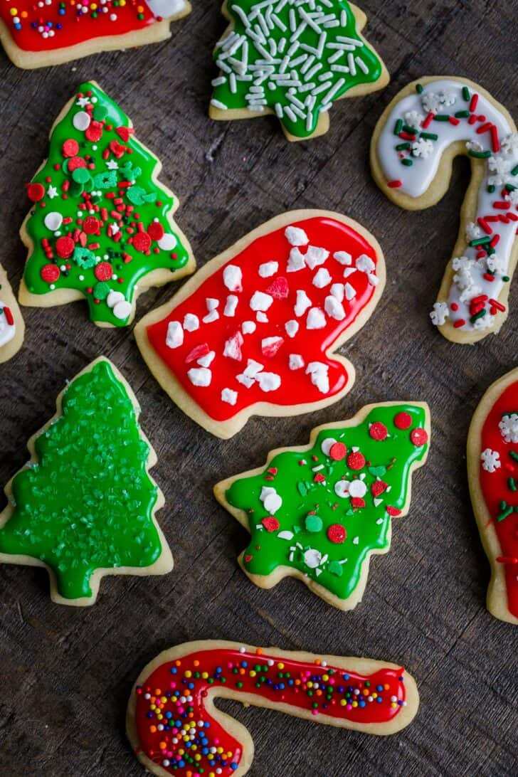 Decorated Christmas cookies with sprinkles and frosting