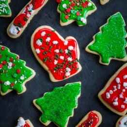Sugar cookies recipe decorated on a Christmas cookie platter