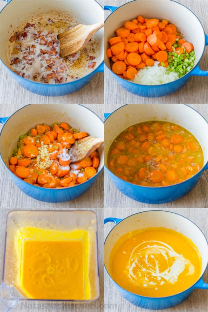 Step by step process photos for how to make carrot soup