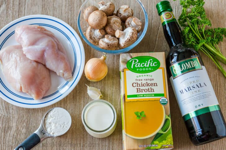 Chicken Marsala Ingredients: Raw Chicken, Onion, Garlic, Mushrooms, Chicken Broth, Dry Marsala Wine, Flour, Heavy Whipping Cream