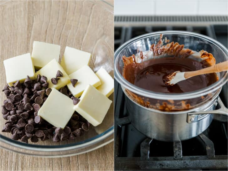 Melting chocolate and butter over double boiler